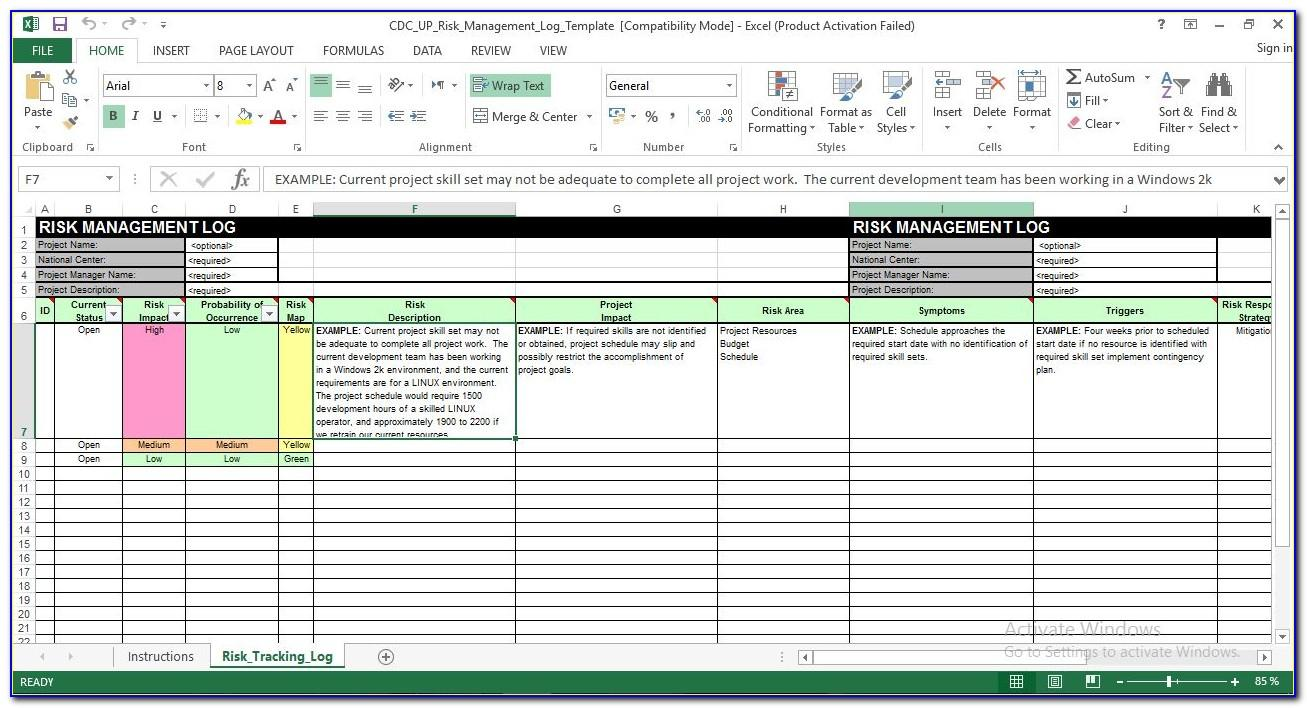Risk Management Plan Template Excel