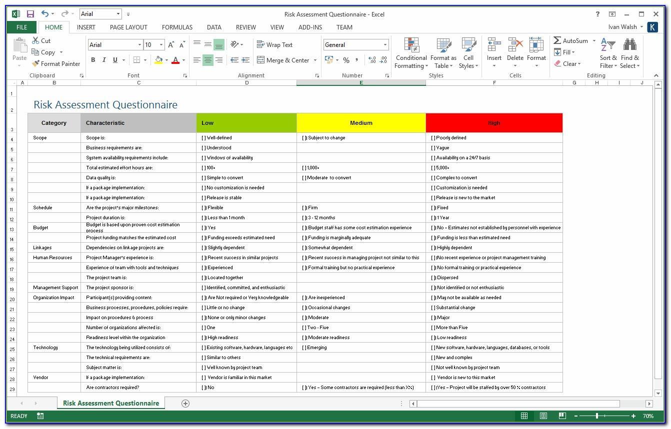 Risk Management Template Excel Free Download