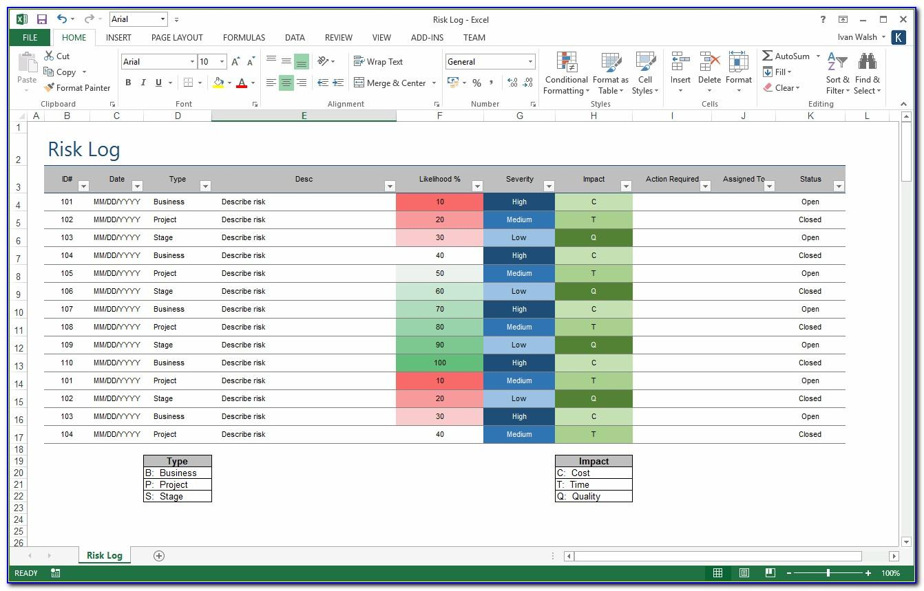 Risk Management Template In Excel