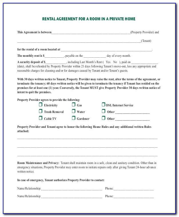Room Rental Contract Template California