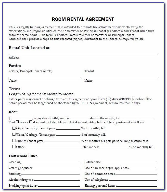 Room Rental Contract Template Uk