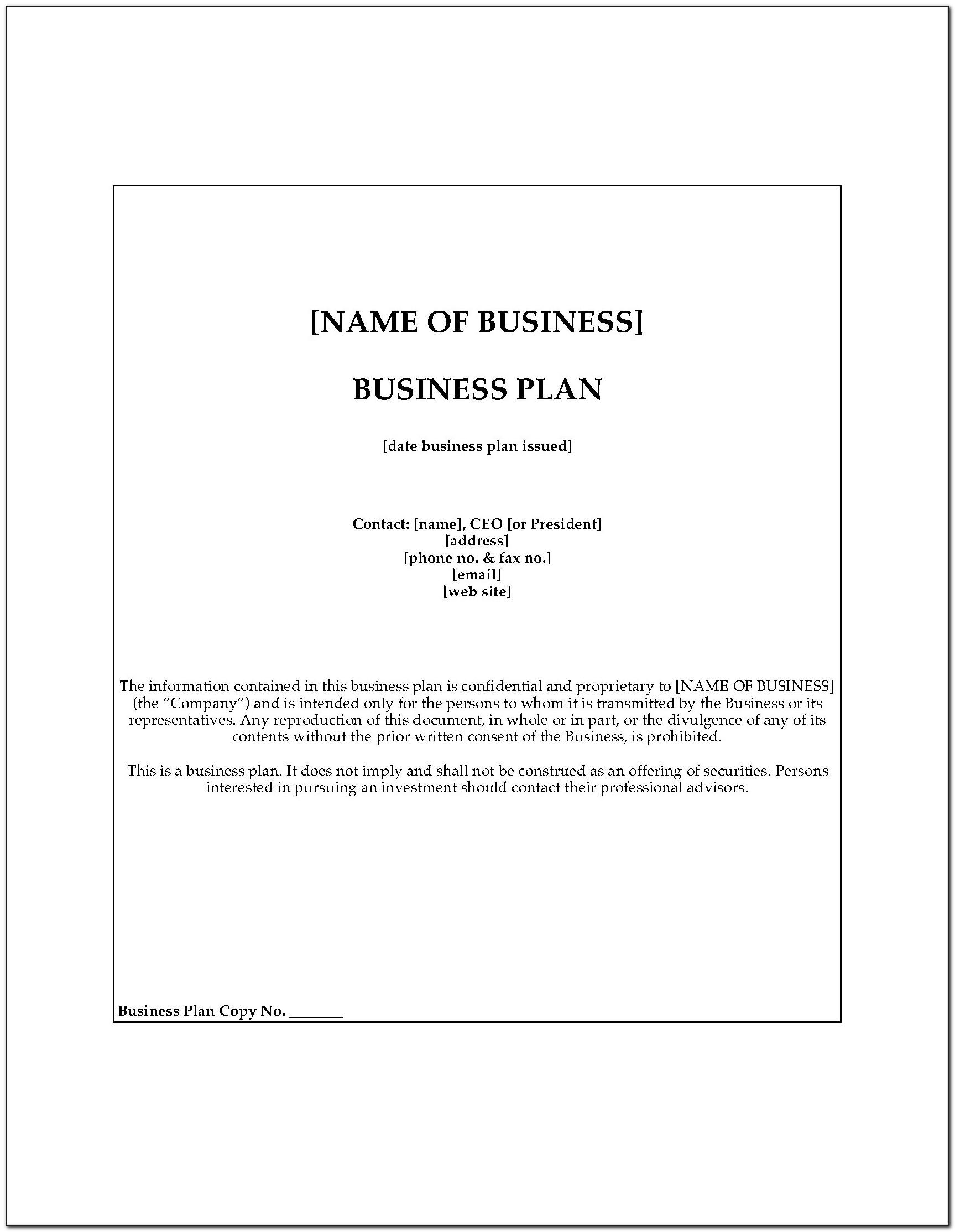 Sample Auto Repair Shop Business Plan Template