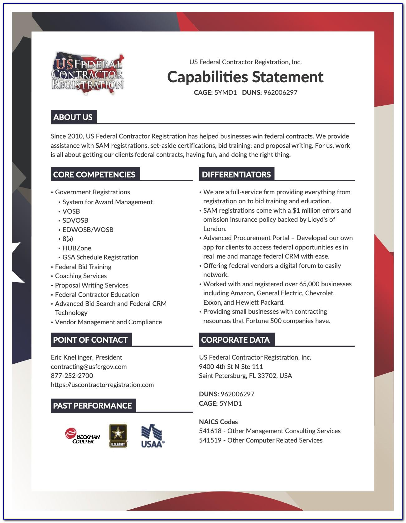 Sample Capability Statement For Government Contractors