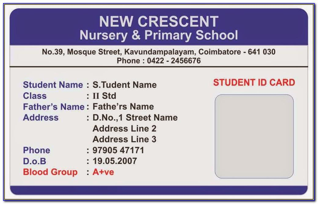 Sample Id Card Layout