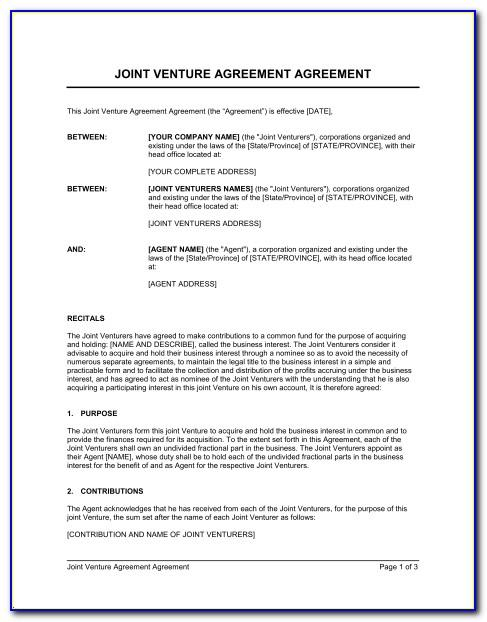 Sba Joint Venture Agreement Template