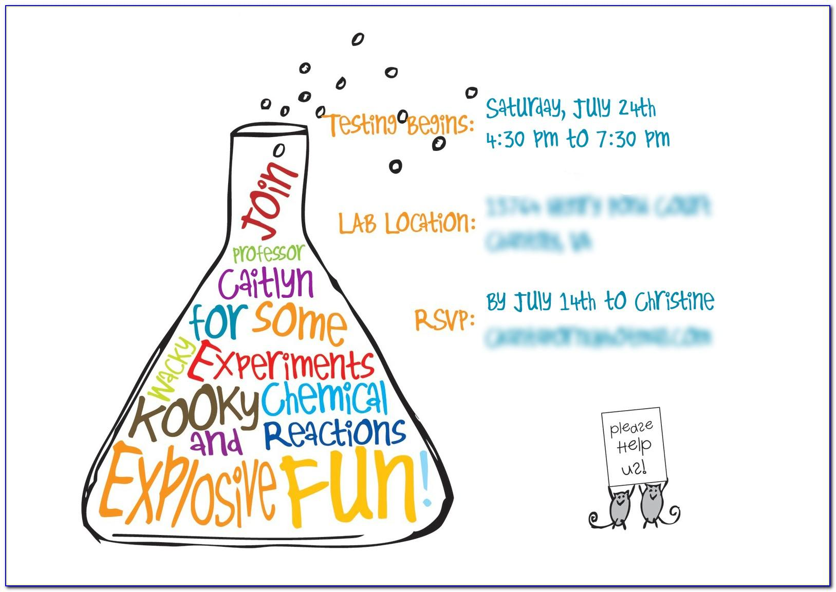 Science Party Invitations Template Free