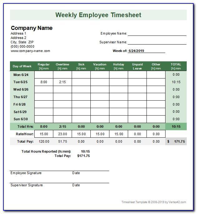 Simple Biweekly Timesheet Template