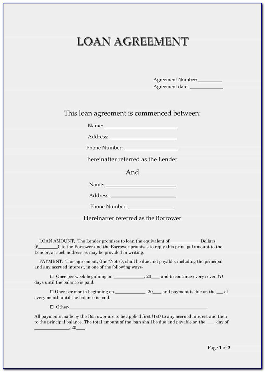 Simple Interest Loan Contract Template