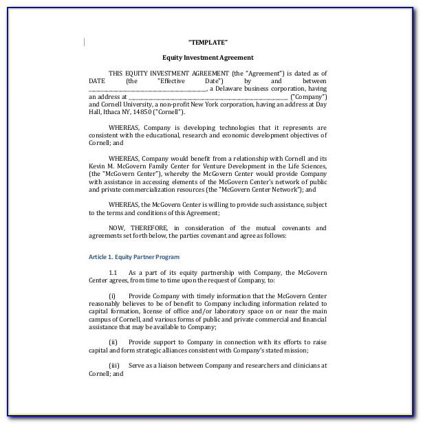 Simple Investment Agreement Template Doc
