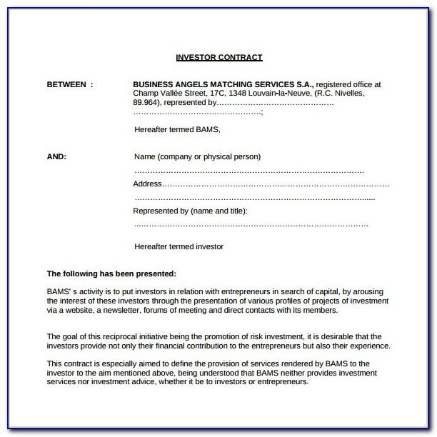Simple Investment Contract Template Word