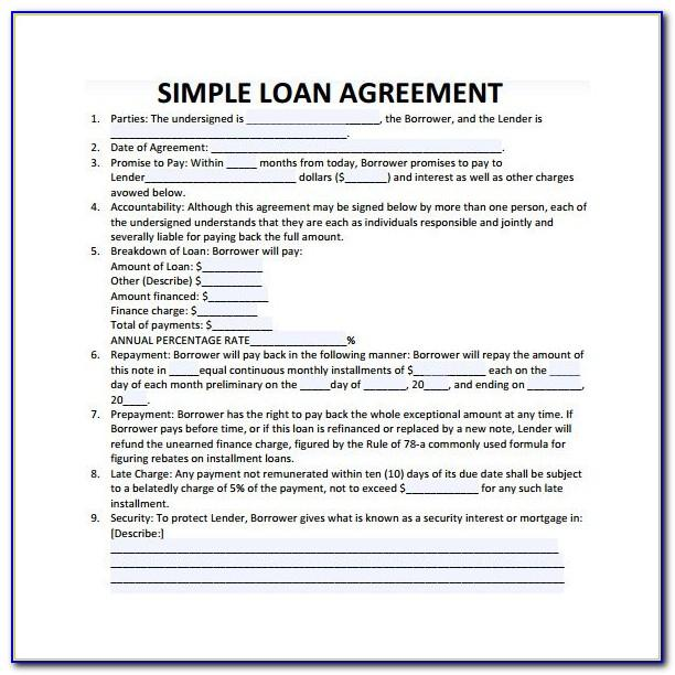 Simple Loan Contract Template Pdf
