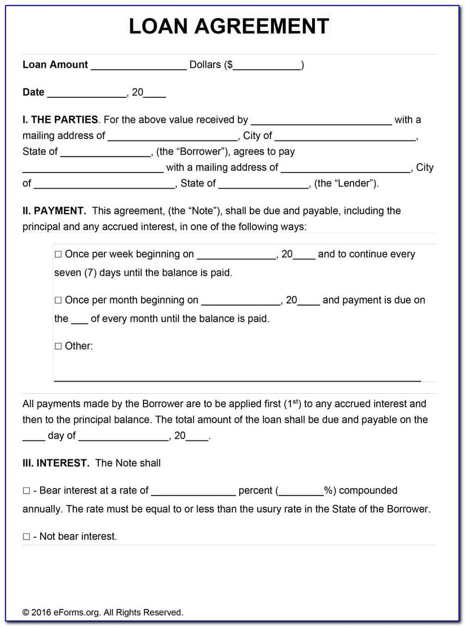 Simple Personal Loan Contract Template