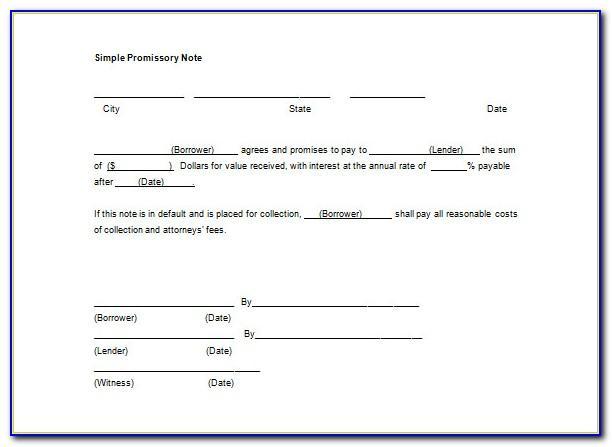 Simple Promissory Note Template Pdf