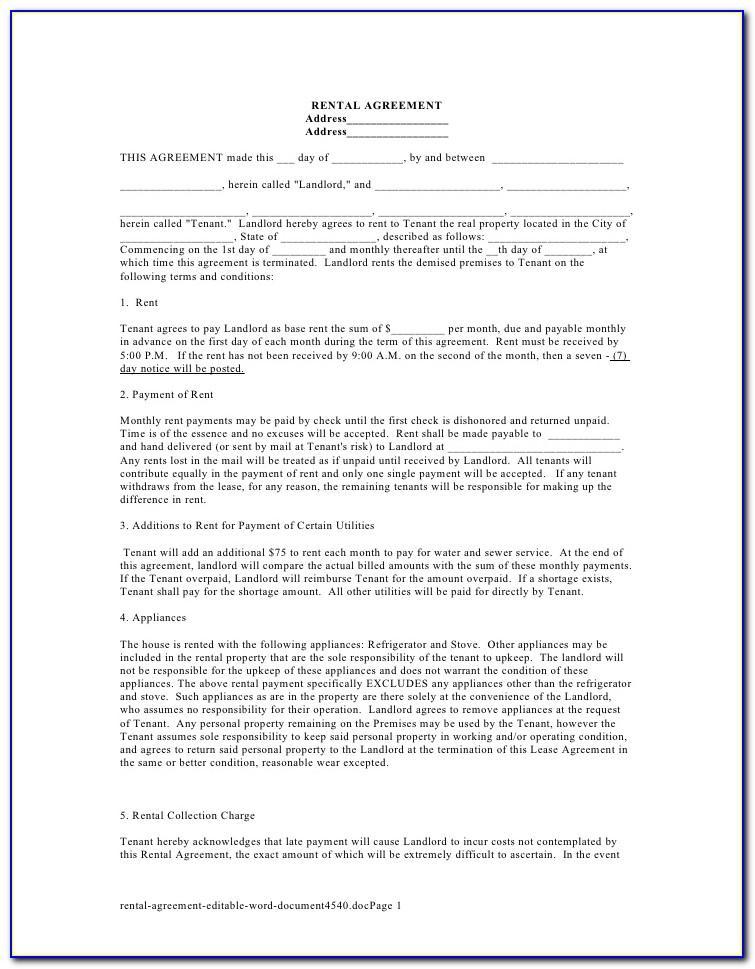 Simple Room Rental Agreement Template Word Doc
