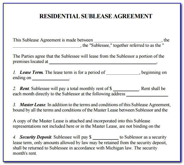 Simple Sublease Agreement Template India