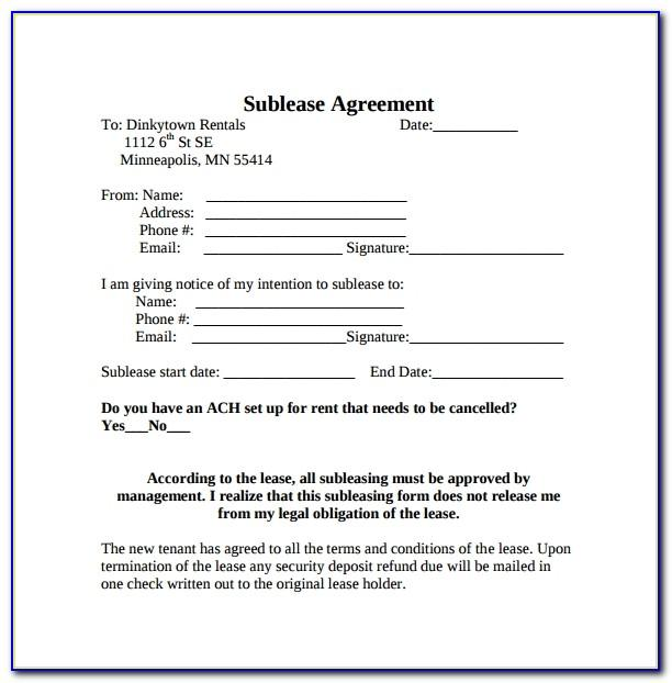 Simple Sublease Agreement Template Ontario