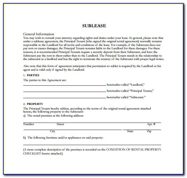 Simple Sublease Agreement Template Uk