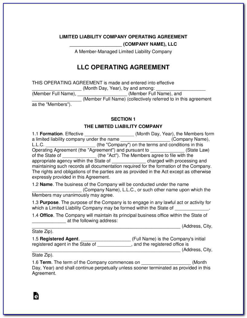 Single Member Llc Operating Agreement Free Template