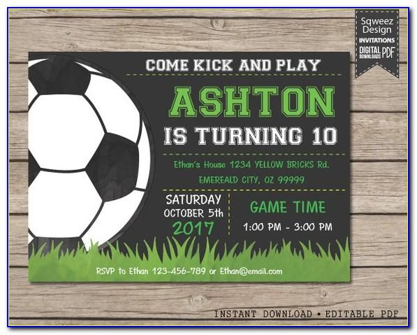 Soccer Themed Birthday Party Invitation Template