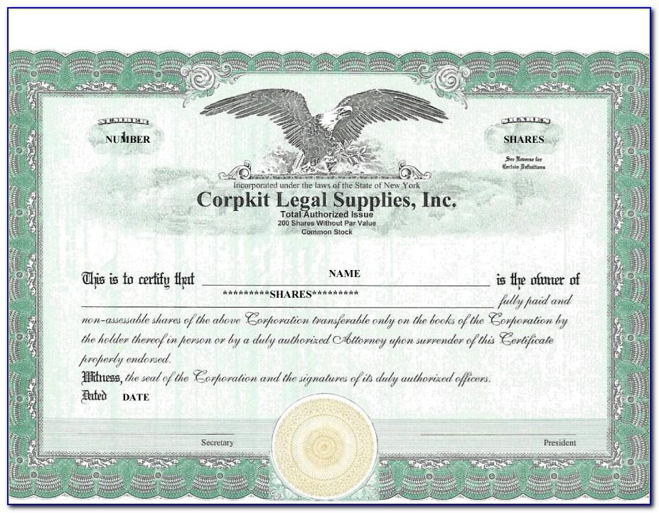 Stock Certificate Form Free Download