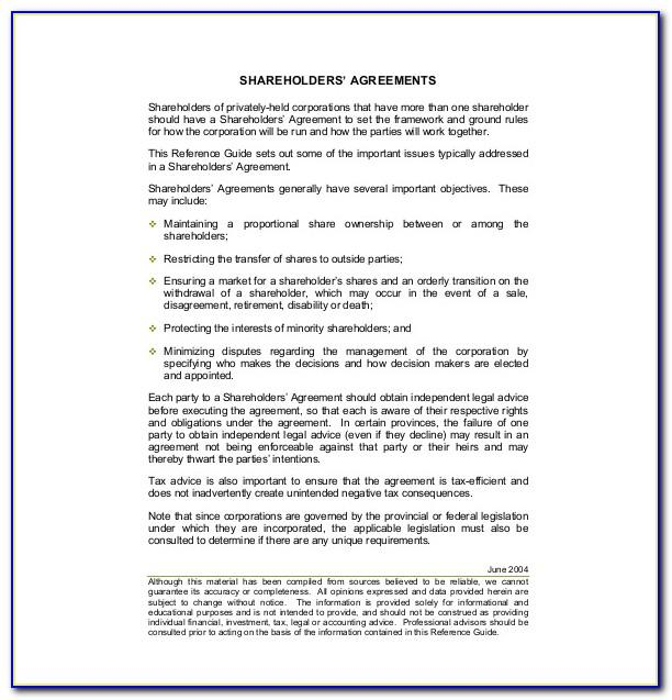 Stockholder Agreement Template