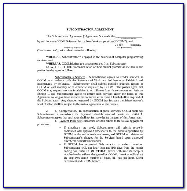 Subcontractor Agreement Template Microsoft Word