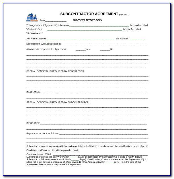 Subcontractor Agreement Template Word Australia