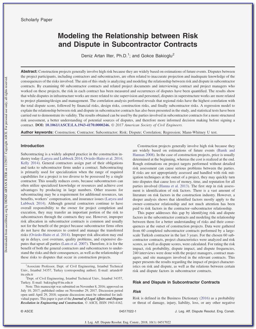 Subcontractor Agreement Word Format