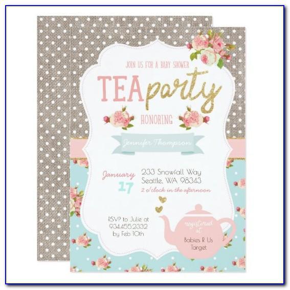 Tea Party Baby Shower Invitation Templates