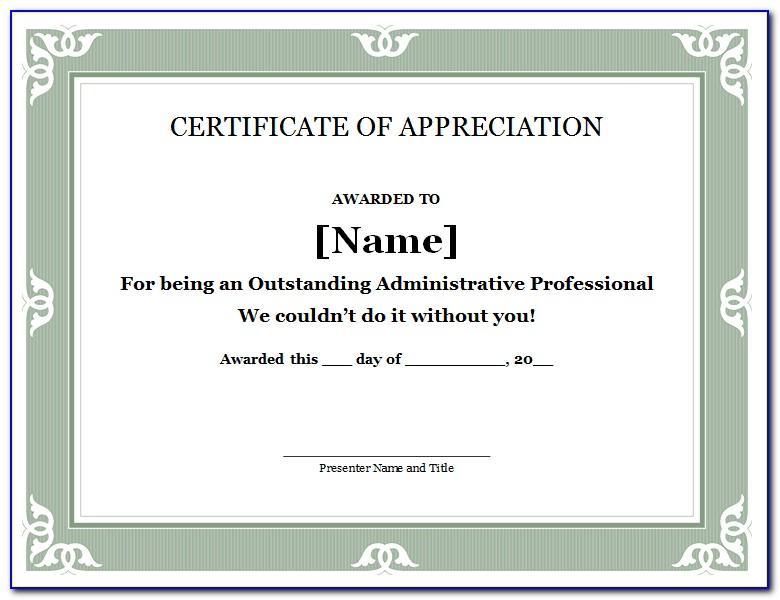 Template Certificate Of Appreciation Word