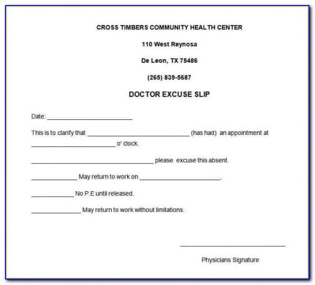 Template Doctor's Note Free