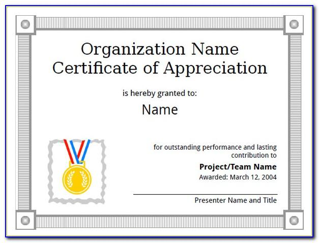 Template For Certificate Of Appreciation Free Download