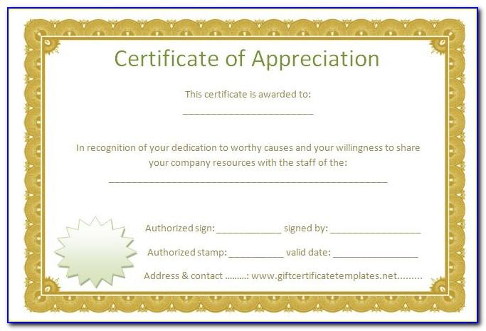 Template For Certificate Of Appreciation
