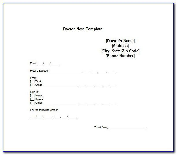 Template For Doctors Note From Work