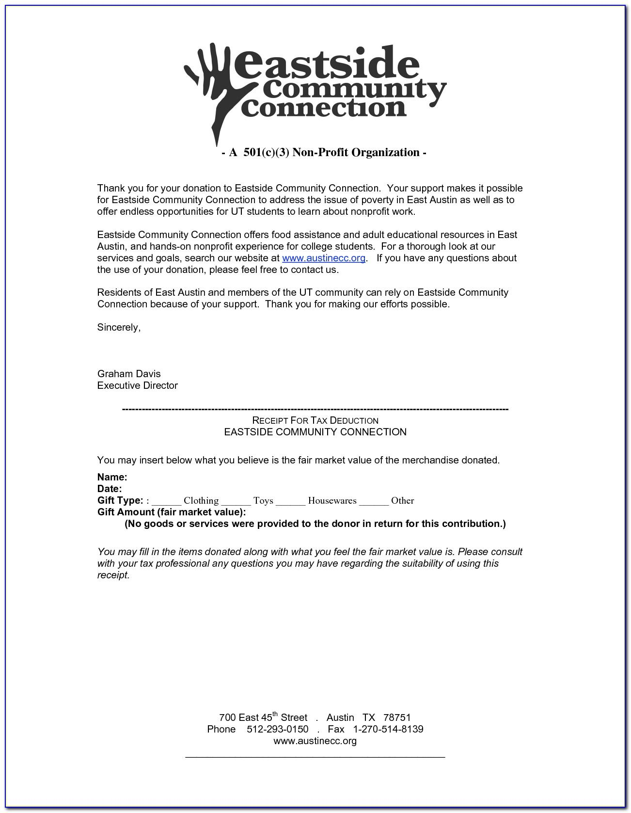 Template For Donation Letter For Nonprofit