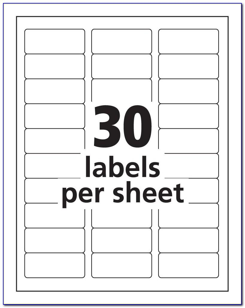Template For Printing Labels 30 Per Sheet