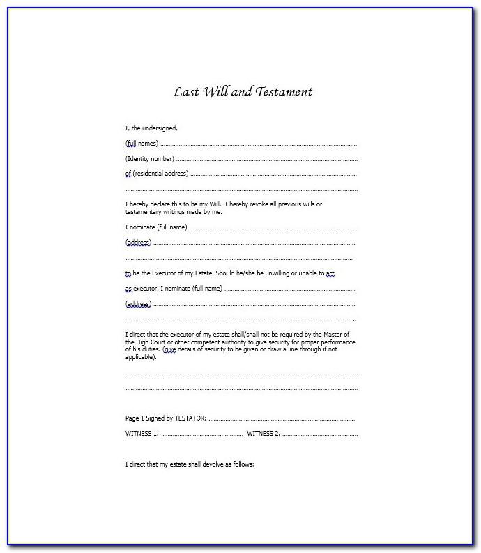 Template Free Printable Uk Last Will And Testament Forms