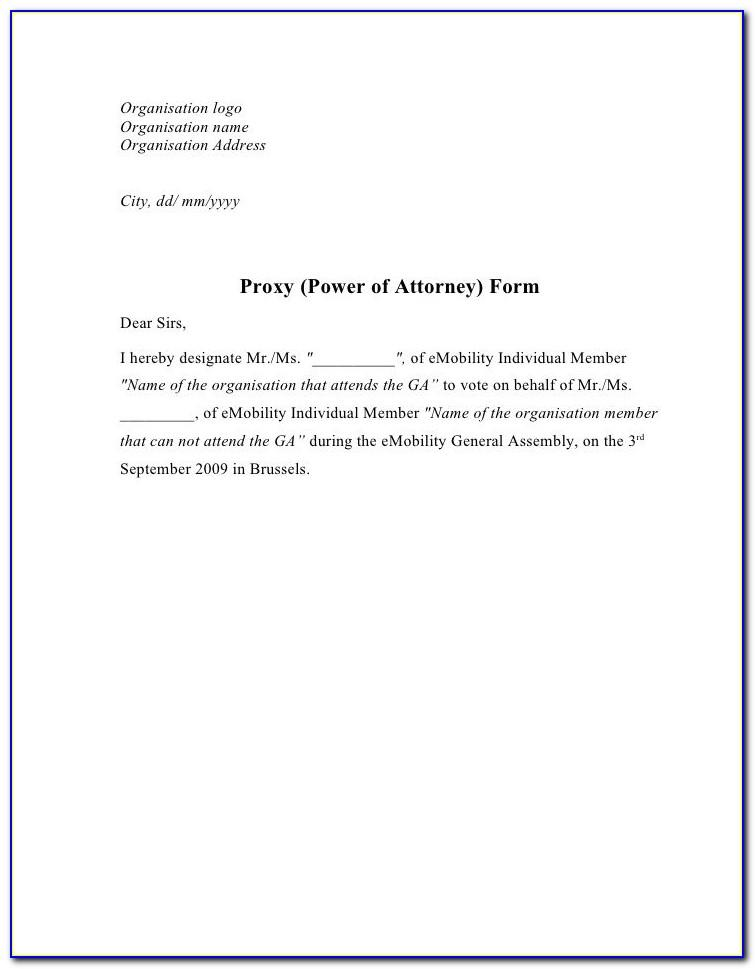 Template Power Of Attorney Letter