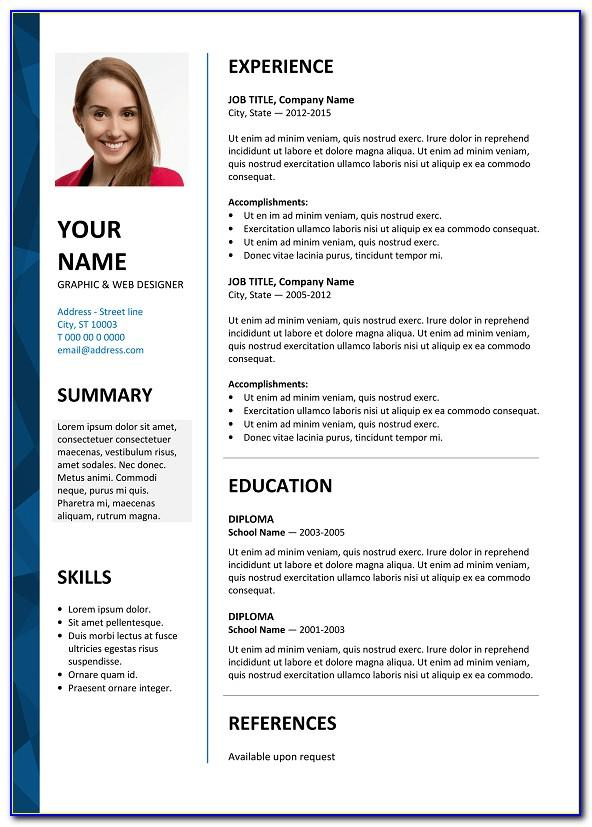 Template Resume Microsoft Word 2010