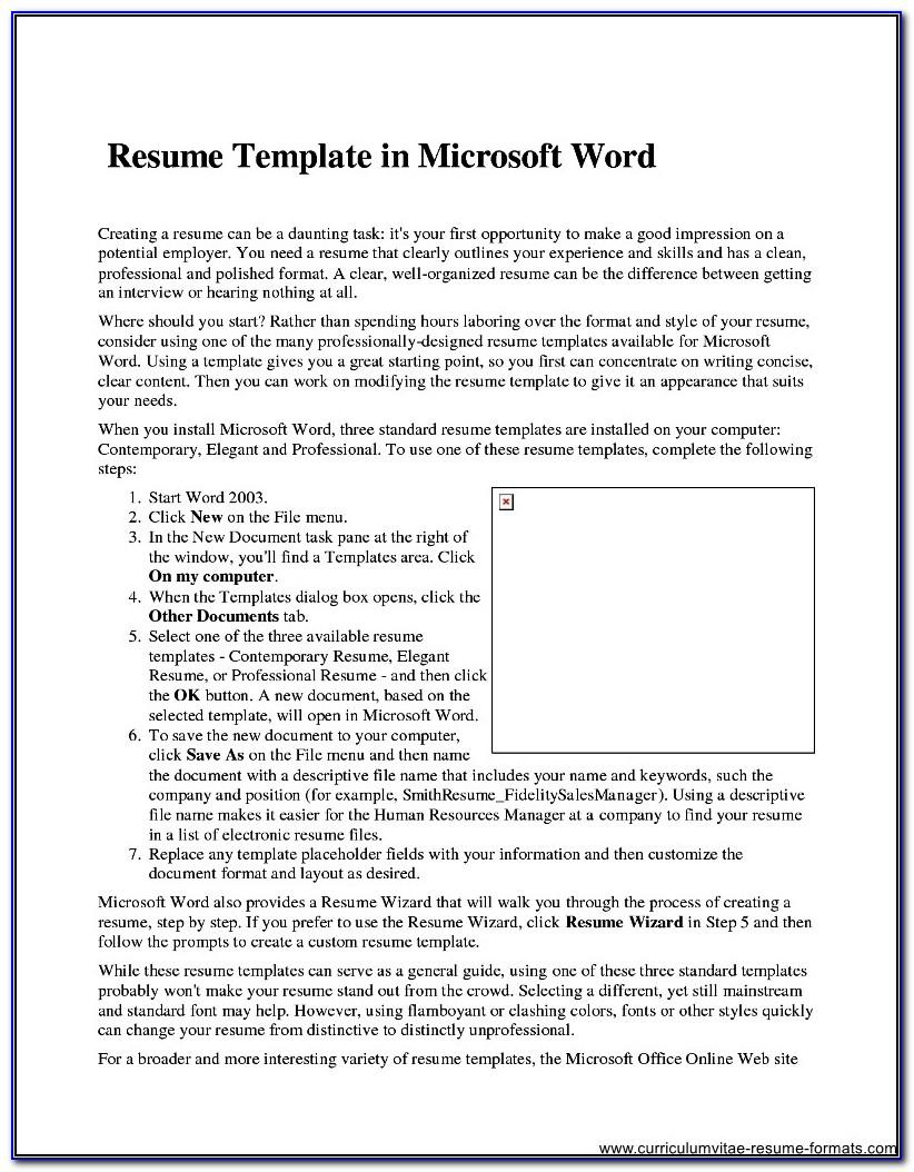 Template Resumes For Microsoft Word