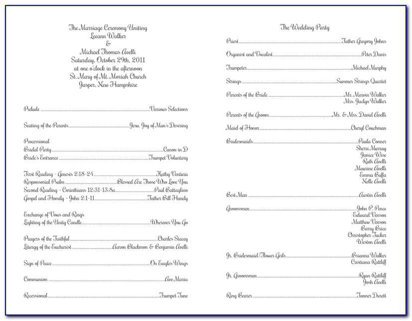 Templates For Catholic Wedding Programs Free
