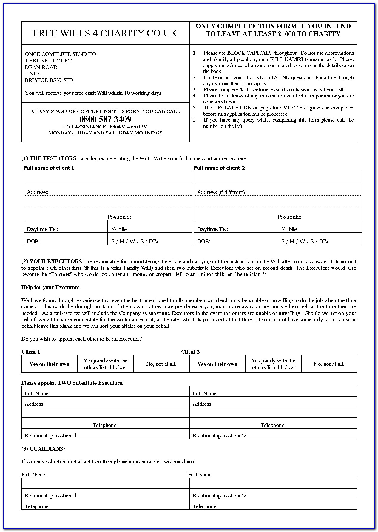 Templates For Diy Wills