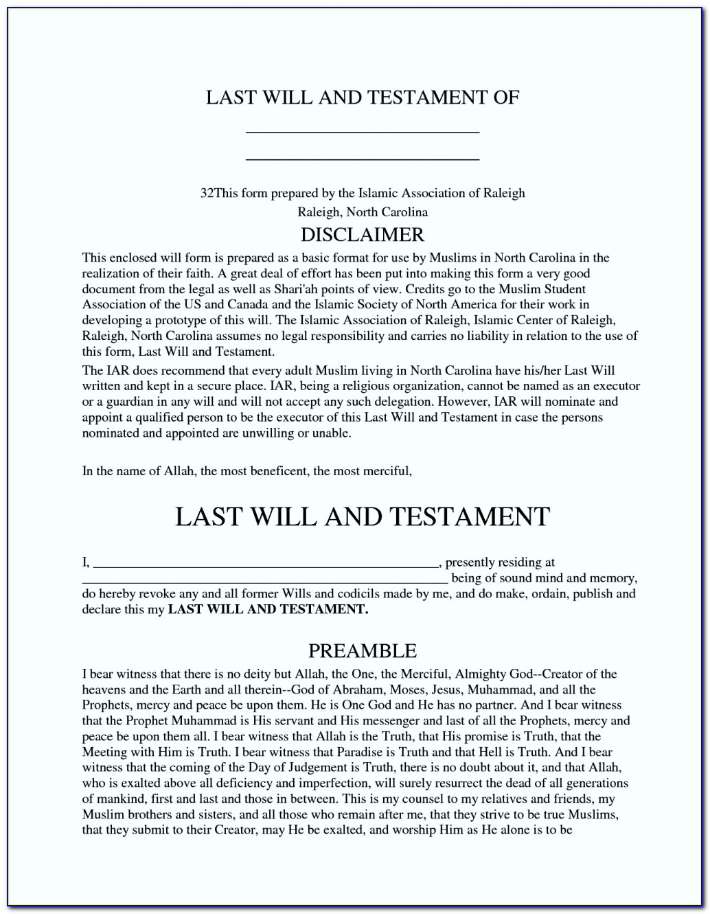 Templates For Wills In Us