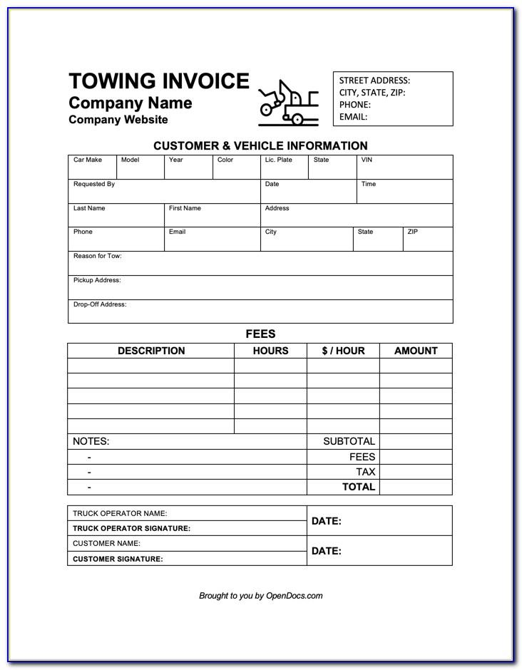 Towing Invoice Template Free