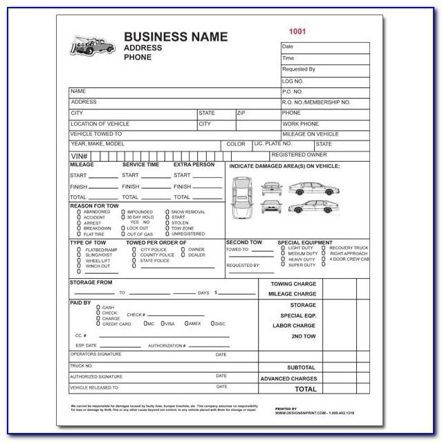 Towing Invoice Template Pdf