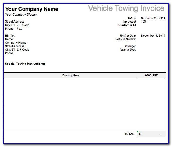 Towing Invoice Template Word