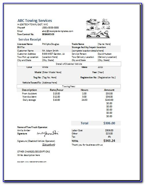 Towing Receipt Form