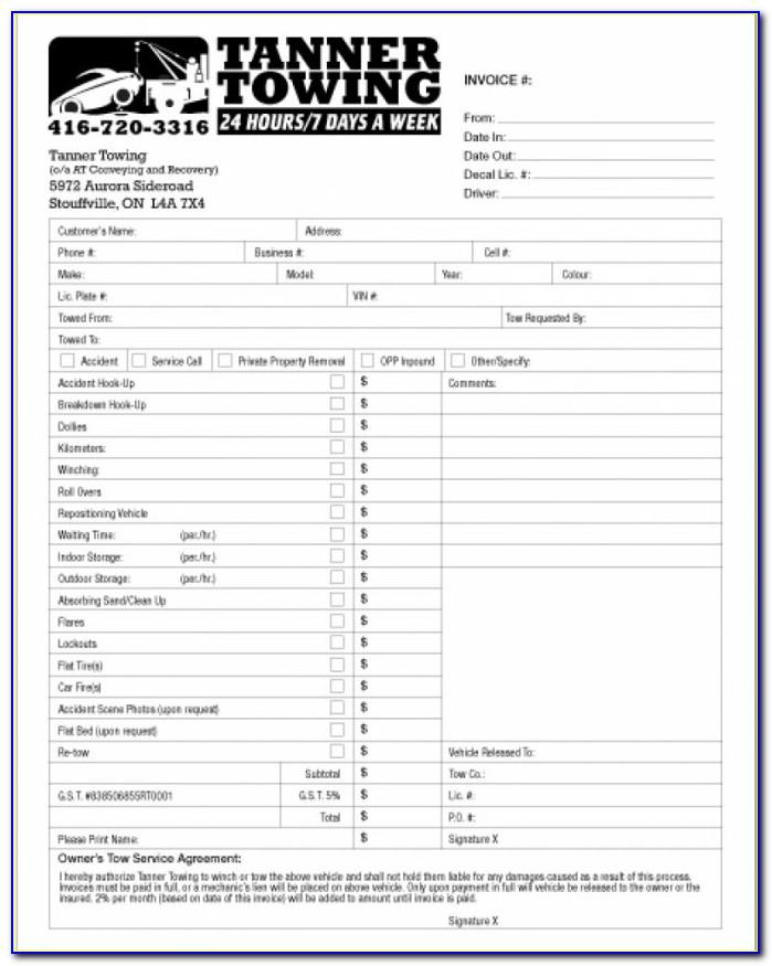 Towing Service Invoice Template