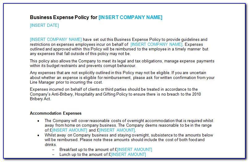 Travel Expense Reimbursement Policy Example