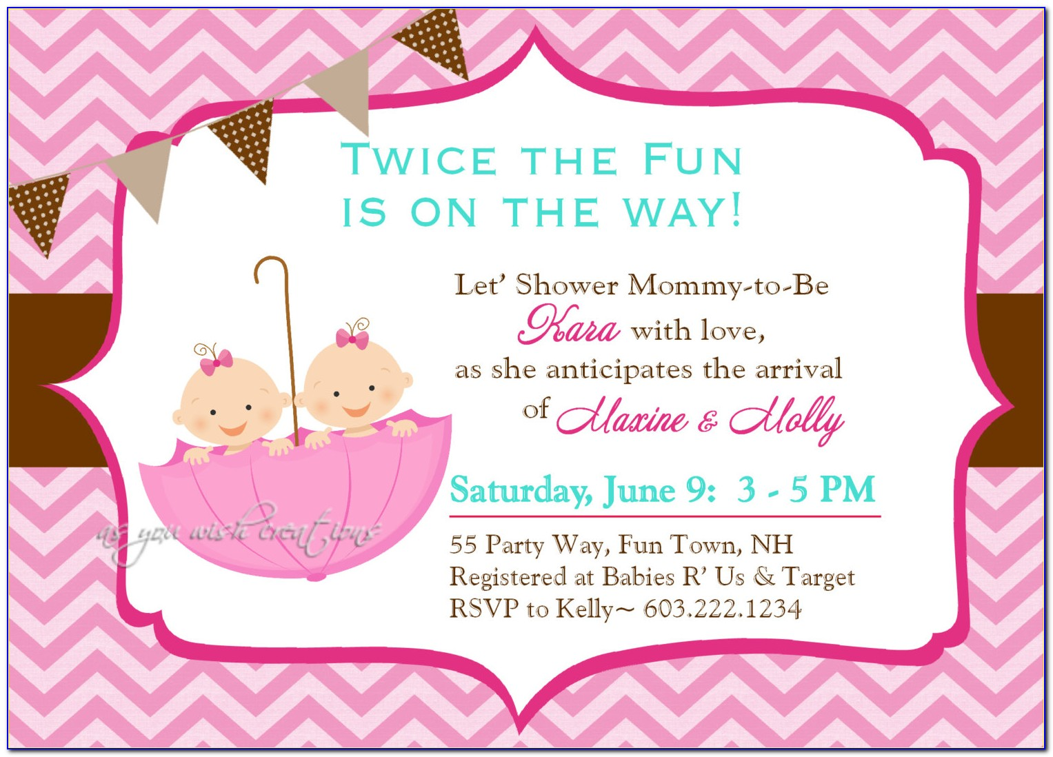 Twins Baby Shower Invitation Templates